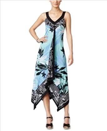 0cdbbba30d88 Image Unavailable. Image not available for. Color: Style & CO.Womens Petite  Printed Handerchief Hem Maxi Dress ...