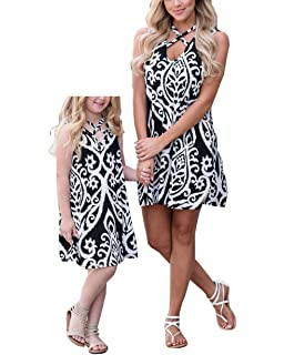 Mom and Me Cold Shoulder Dress Mother Daughter Sundress Family Look Matching