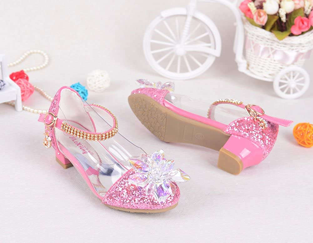 miaoshop Children Shoes Crystal Shiny High Heels Princess Shoes Girls Sandals high Heel Shoes for Children