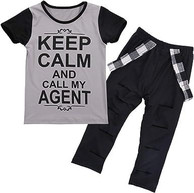 2PCS Toddler Kids Boy T-shirt Tops+Long Pants Trousers Casual Clothes Suit LI0
