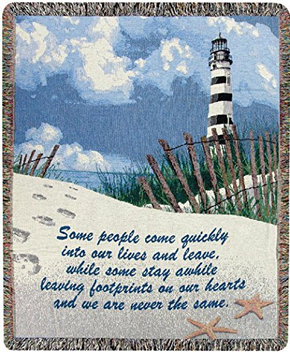 Kensington Row Coastal Collection Throw Blankets - Lighthouse Inspirational Throw Blanket - Sofa Blanket - Footprints on Our Hearts Tapestry Throw