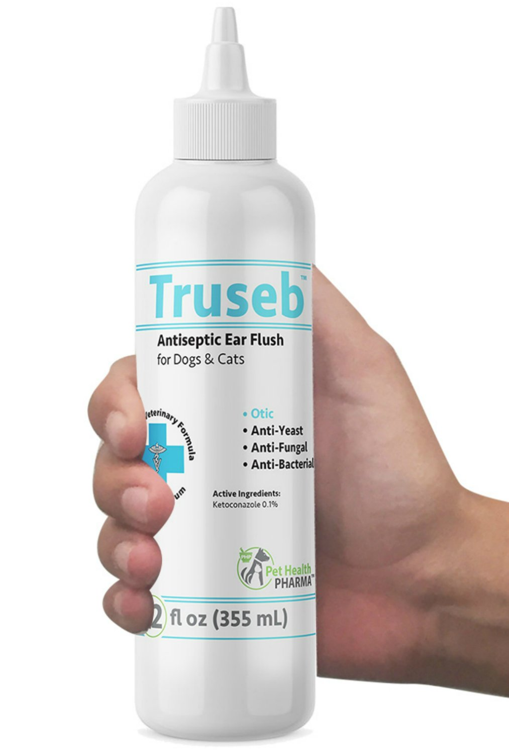 Truseb   #1 Dog and Cat Ear Infection Treatment – Ear Cleaner Flush Solves Itching, Head Shaking, Discharge & Smelly Ears Due to Mites, Yeast & Bacteria- KETOCONAZOL 0.1% - Antibacterial, Antiseptic,