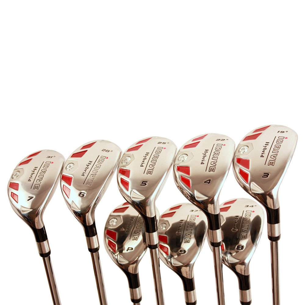"""Senior Men's Golf All iDrive Hybrids Complete Full Set, which includes: #3, 4, 5, 6, 7, 8, 9, PW Senior Flex Total of 8 Right Handed New Rescue Utility """"A"""" Flex Clubs"""