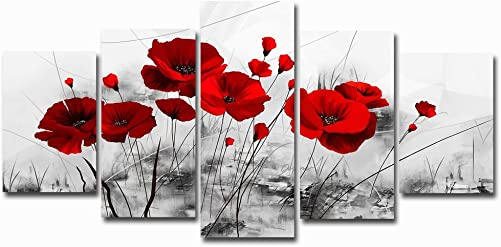 Red Poppy Flowers Artwork Abstract Grey Background Chinese Ink Painting Canvas Print Wall Art Decor