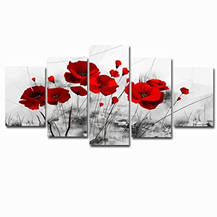 Abstract Flowers Painting Canvas Picture Art Black and White Chinese Ink  Red Poppy Artwork Wall Picture for Living Room Decoration