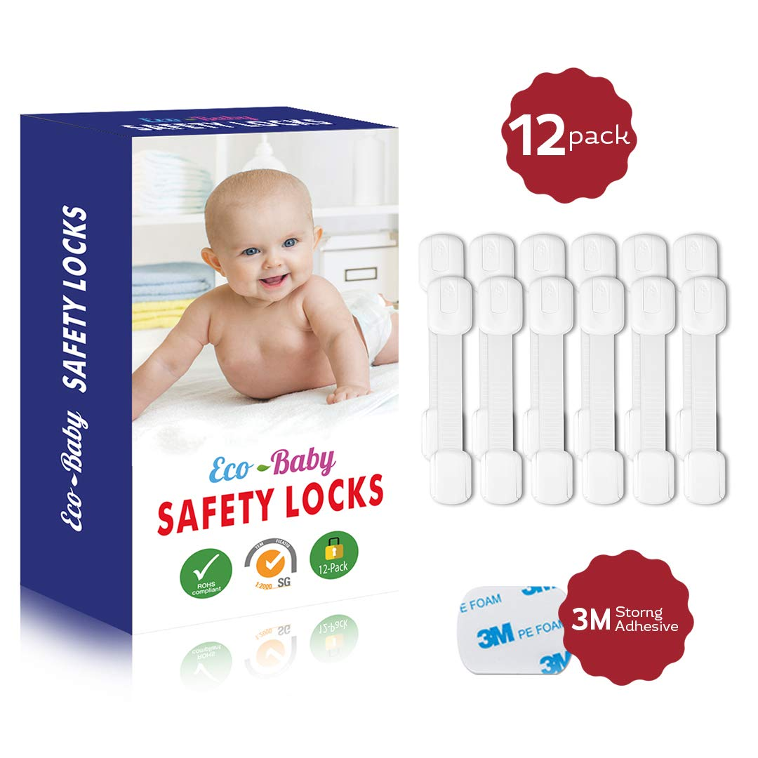 Eco-Baby Child Safety Cabinet Locks,Drawers, Oven, Toilet Seat, Fridge and More   Multi-Purpose Use   No Tools Required   Super Strong 3M Adhesive with Adjustable Strap and Latch System (12-Pack)