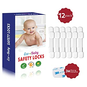 Eco-Baby Child Safety Cabinet Locks,Drawers, Oven, Toilet Seat, Fridge and More | Multi-Purpose Use | No Tools Required | Super Strong 3M Adhesive with Adjustable Strap and Latch System (12-Pack)
