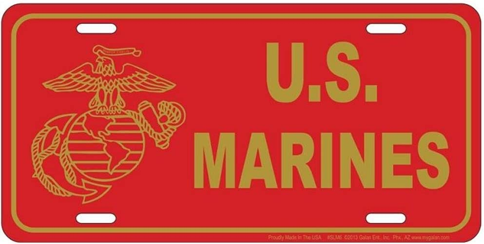 License Plate Signs 4 Fun SLM6 Marines Red