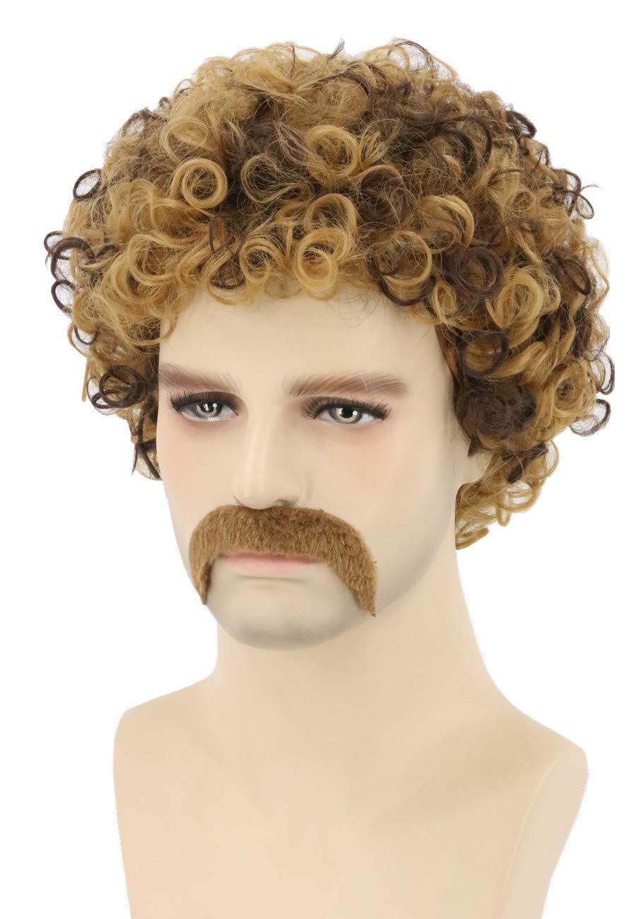 Topcosplay Men's Wig 70s Disco Dude Dirt Bag Wig & Moustache Short Curly Afro Shaggy Wig Blonde Mixed Brown by Topcosplay