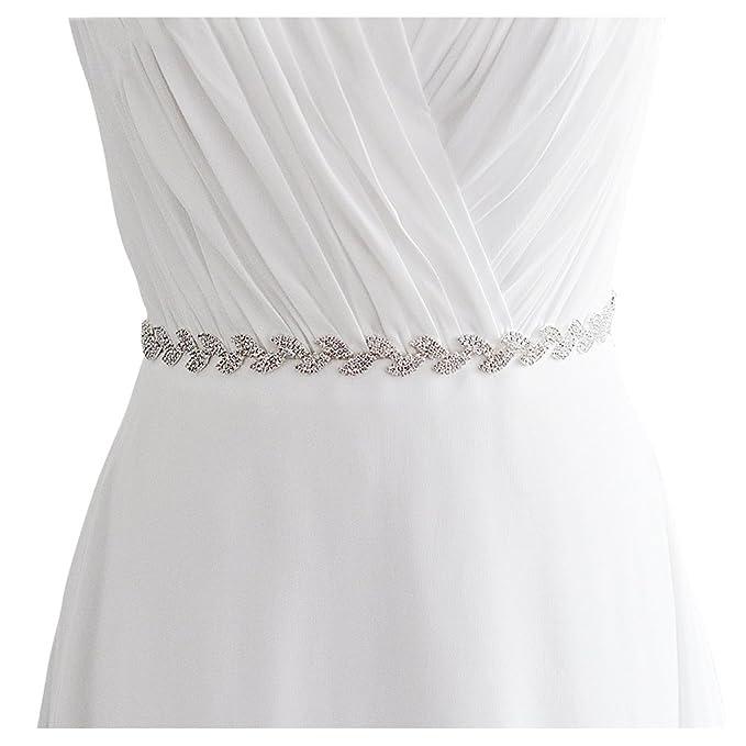 E Clover Crystal Silver Leaf Satin Bridal Sash Wedding Belt For