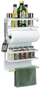 Sorbus Magnet Spice Rack Organizer for Refrigerator, 4-Tier Magnetic Storage Shelf with Paper Towel Holders and 5 Hooks, Multi-purpose, (Large, White)