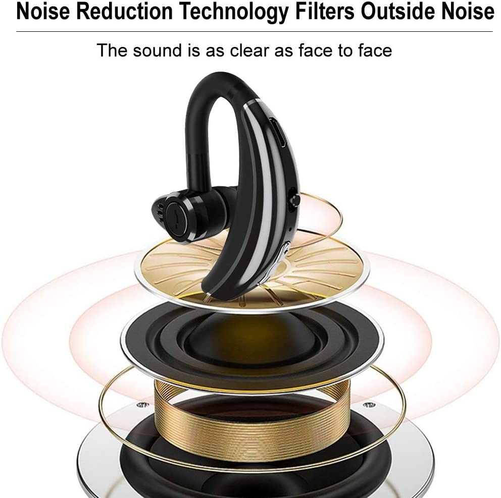 Bluetooth Earpiece Voice Command Bluetooth Headset Noise Cancelling Wireless Headset in-Ear Headphone Business Earphones Compatible with iPhone Samsung LG Android Smart Phones for Driver Trucker