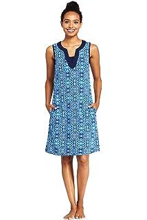 5b7c3149deb53 Lands' End Women's Cotton Jersey Sleeveless Tunic Dress Swim Cover-up Print