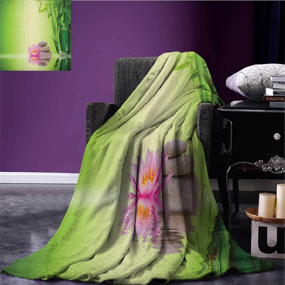 Spa throw blanket Zen Garden Asian Self-Control Freshening Insight in Daily Life Mindful Activity Print miracle blanket Green Pink size:50''x60''