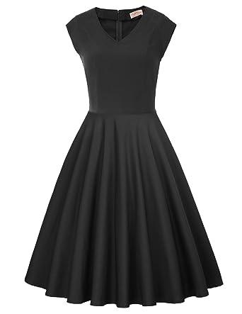e7d666cae7f6 Women's 1950s Vintage Dresses V Neck Cap Sleeve Cocktail Dress M BP586-1  Black