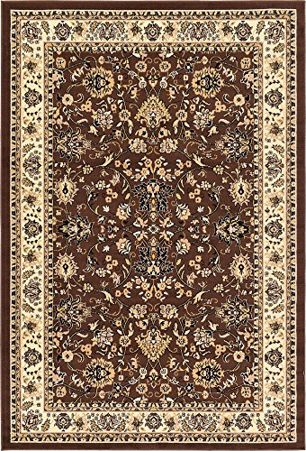 Unique Loom Kashan Collection Traditional Floral Overall Pattern with Border Brown Area Rug (6' 0 x 9' 0) ()