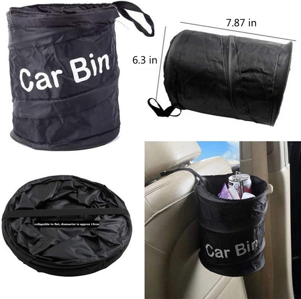 2 Pack Portable Outdoor Car Trash Can Pop Up Folding Car Bin with Garbage Bags Cisture Car Garbage Can