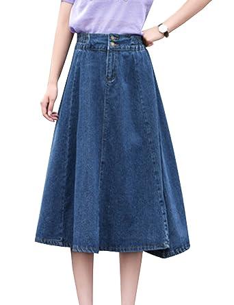 82080a6369de51 Tanming Women's Elastic High Waist Denim Midi Jean Skirts (Dark Blue, X- Small