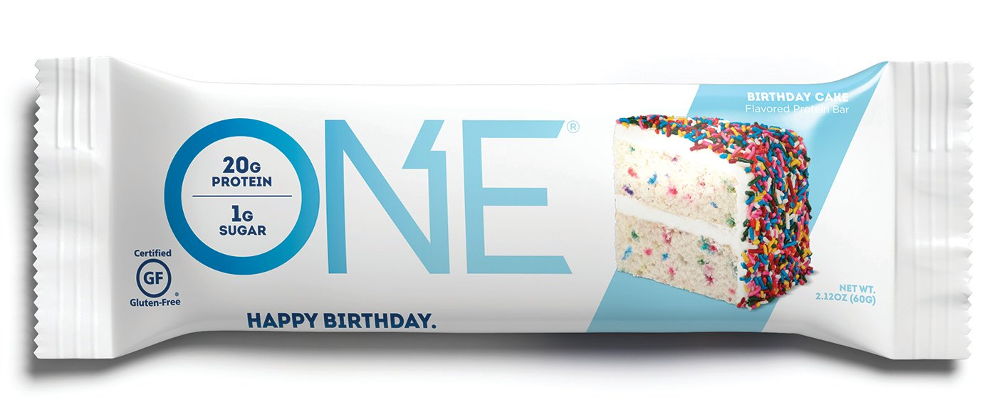 Amazon ONE Protein Bar Birthday Cake 212 Oz 12 Pack Gluten Free With High 20g And Low Sugar 1g Guilt Snacking For