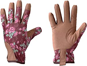 Leather Gardening Gloves for Women Pink Ladies Gloves for Gardening,Pruning,Lawning and Machanic,Medium Brown Leather with Pink Rose