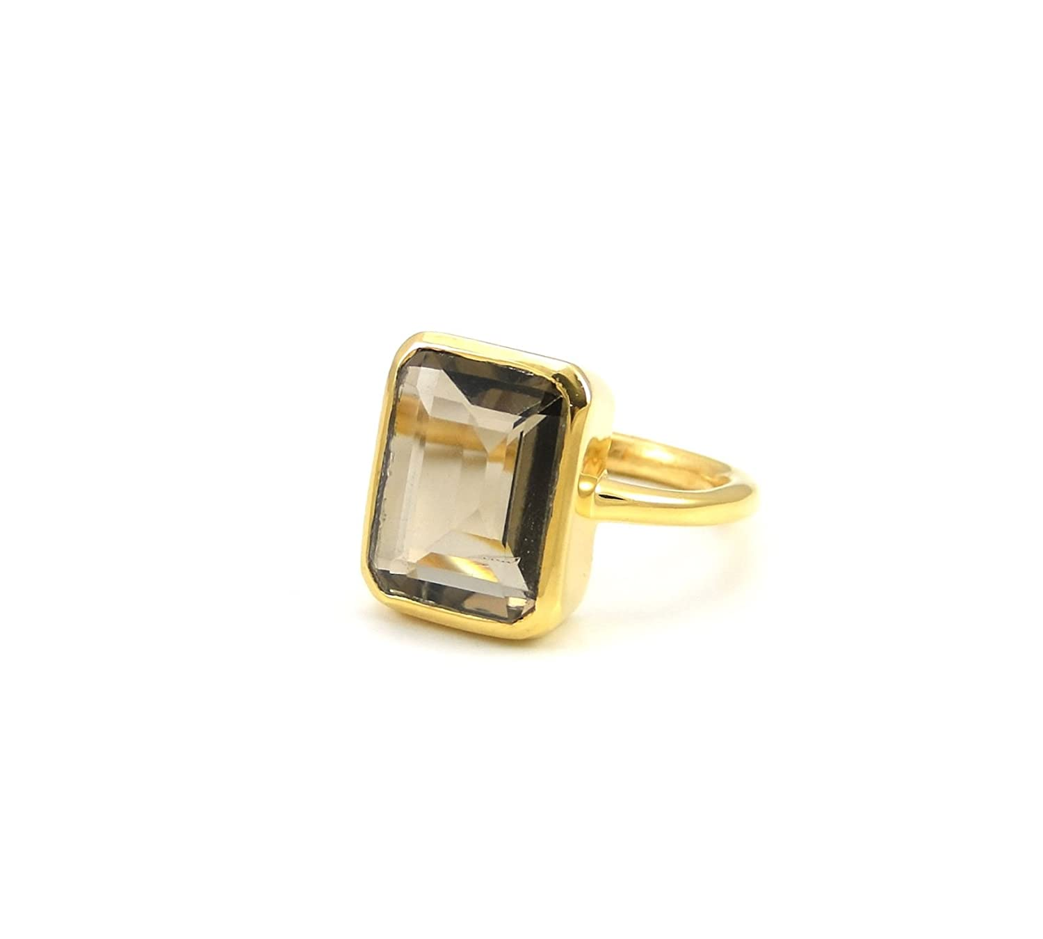 SPARKLER JEWELS Smoky Quartz,10x14mm Rectangle,925 Sterling Silver Rings,Stylish Rings,Gemstone Jewelry,Promise Rings,Moms Gift