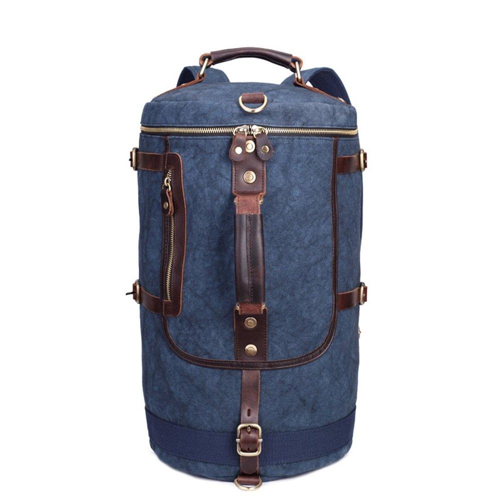 Sensexiao Bergsteigen Vintage Männer Frauen Rucksack Daypack Wasserdichte Reißverschluss Leinwand Eimer Tasche Student Outdoor-Shopping (Farbe   Blau)