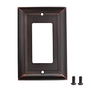AmazonBasics Single Gang Wall Plate, Oil Rubbed Bronze,, 3-Pack