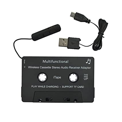 HEIBAIGE iTape Cassette Adapter Car Bluetooth Audio Receiver Work While  Charging Support TF Card