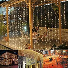 Avtion Novelty Lighting 3M x 3M 300 LED Outdoor Party Xmas String Fairy Wedding /Hotel/Festival Curtain Light 8 Modes for Wedding Thanksgiving Events Home (Warm Light)