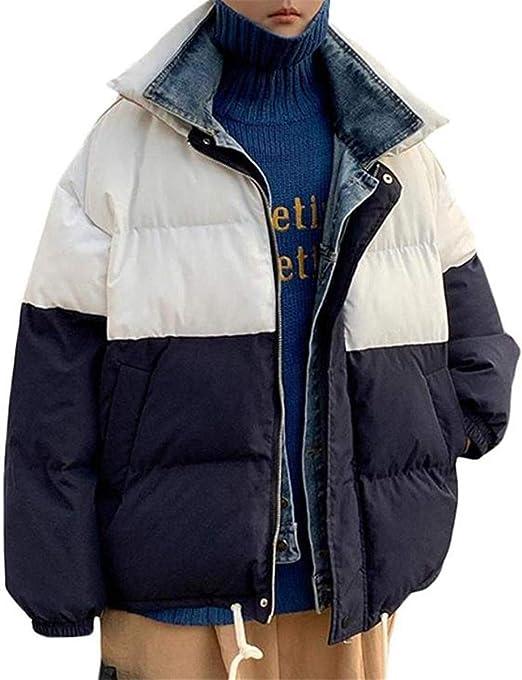 [エージョン]中綿ジャケット メンズ 立ち襟 ジャケット 綿入れ レイヤード系 中綿コート 切り替え デニム 防寒着 重ね着風 カジュアル アウター 冬服 厚手 アウトドア