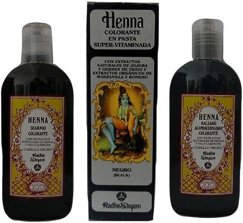 Henna negro pelo Pack: Pasta de tinta + Champú + ...