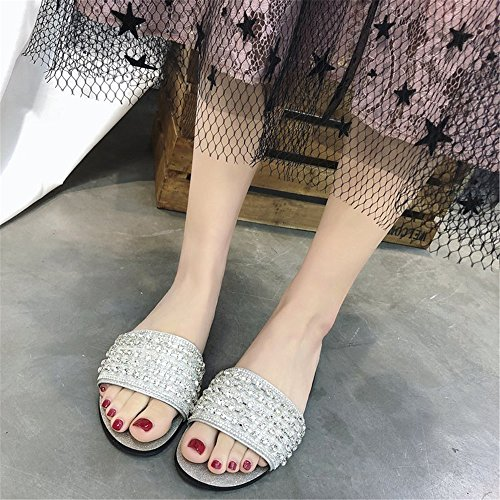 Sliver Shoes Slippers Beach Sandals Diamonds Non Comfortable Shaped H 3 Slip FORTUN x7qXAvnq