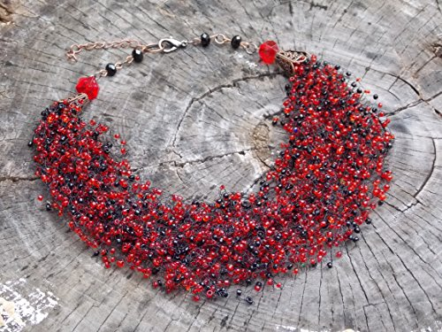 Multistrand beaded airy choker Red Black bib necklace Bead crochet illusion necklace gift for mother day Floating bridesmaids gift wedding ()