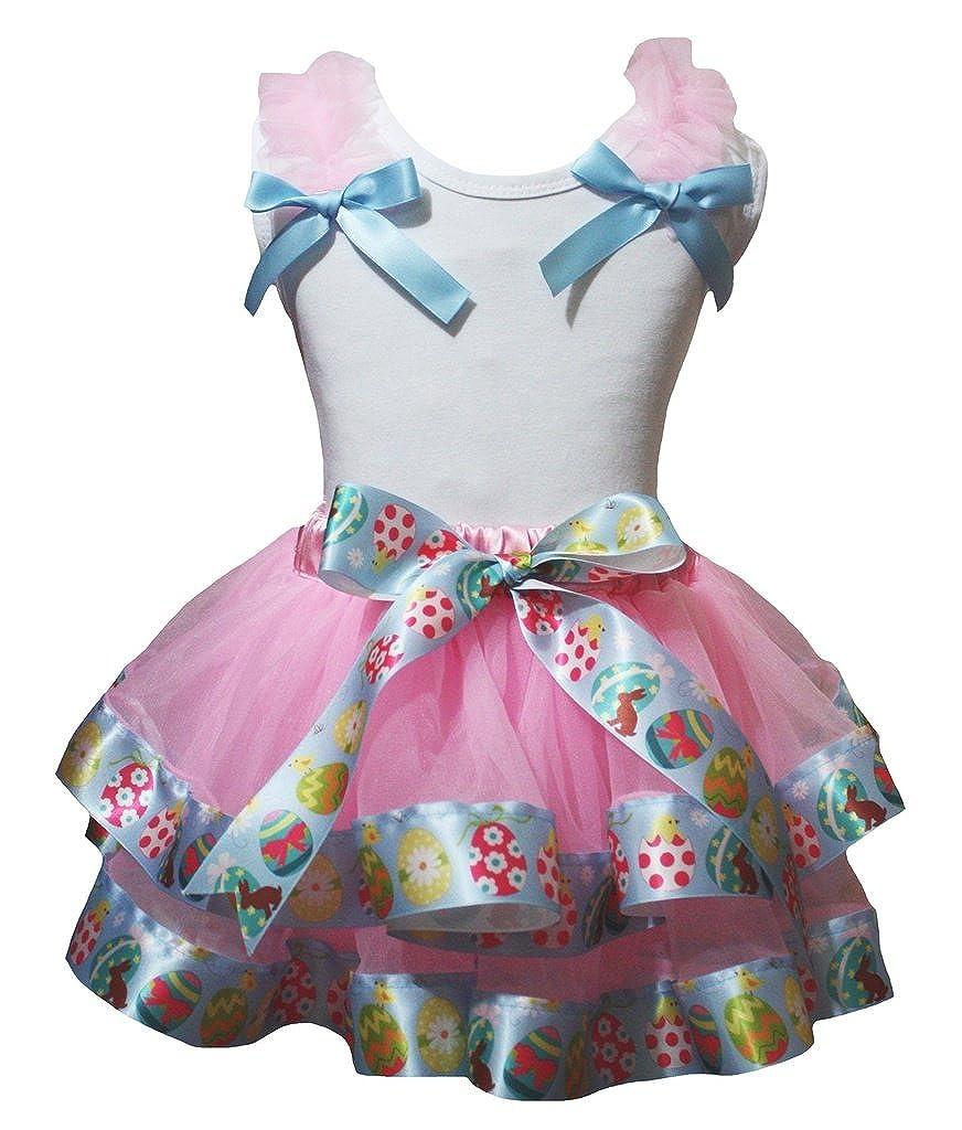 Petitebella White Shirt Eggs Ribbon Pink Petal Skirt Set Nb-8y