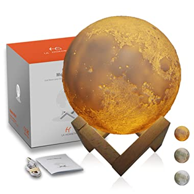 3D Moon Lamp Night Light, True Image of Moon Surface from NASA, Lunar Light with Tap Control and 3 Colors, Gifts for Expressing Love, Home Decorative and Nursery Room Light, LA HOMIETA(5.9 Inch)