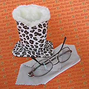 Leopard Design Plush Eyeglass Stand Holder with Cleaning Cloth, Protect & Store
