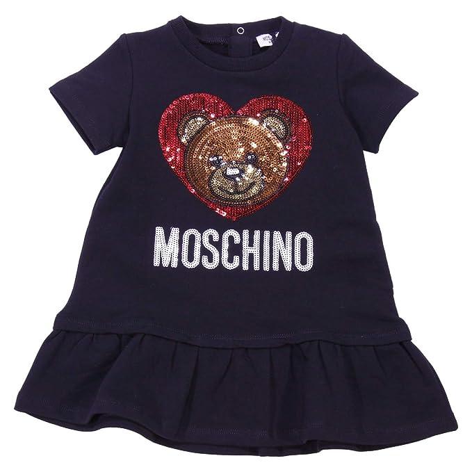 size 40 1f5ae 5906c Moschino Baby Girl Abito Nero in Felpa MOD. MDV06PLDA1060100 ...