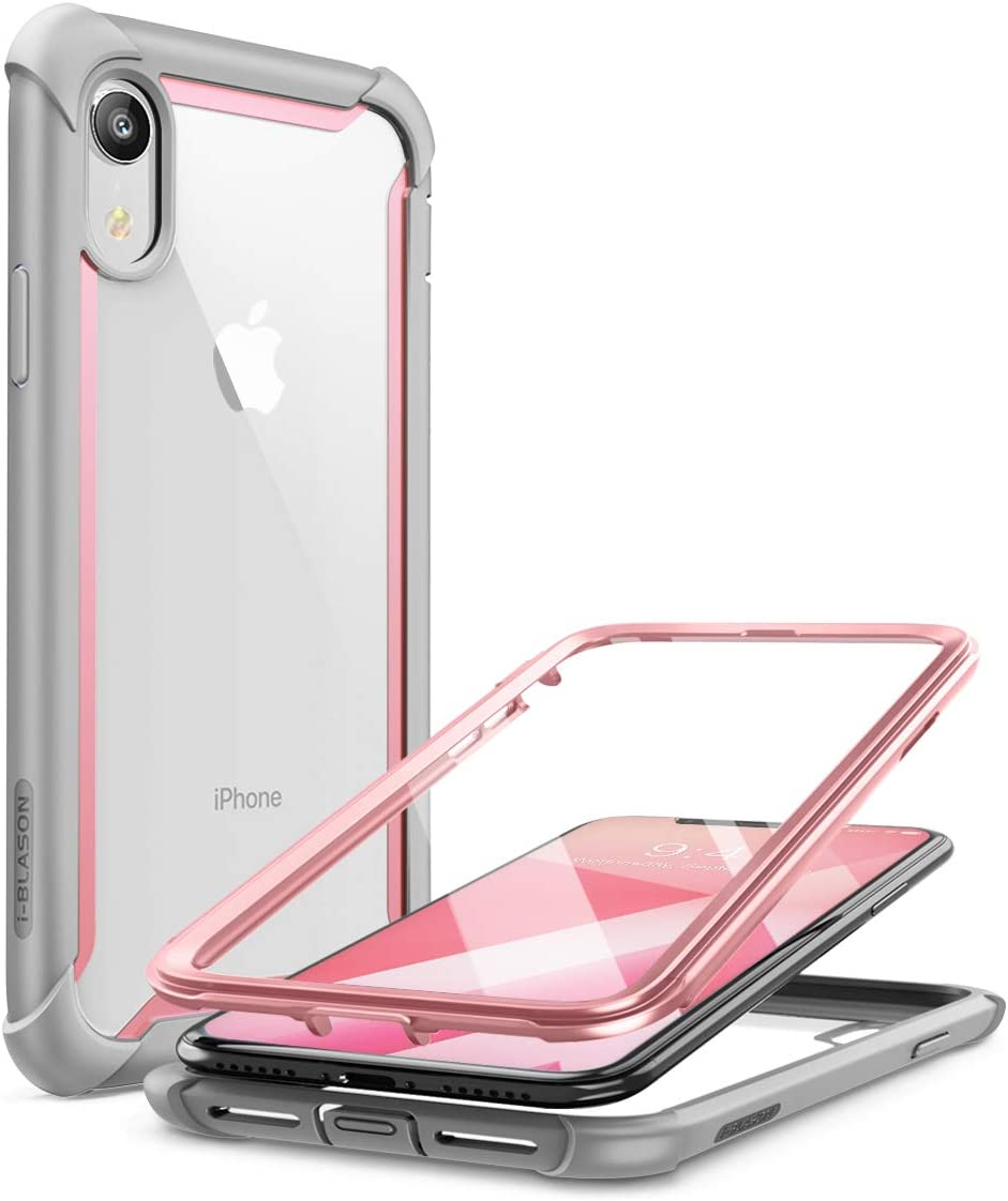 i-Blason Ares Case for iPhone XR 2018, Full-Body Rugged Clear Bumper Case with Built-in Screen Protector (Pink)