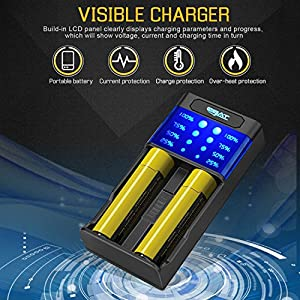 Ebat LCD Smart Battery Charger for Li-ion Ni-MH/Ni-CD 18650 26650 AA AAA 20700 21700 CR123 & More Rechargeable Batteries - 2 Slot Charger - Fast Smart Charger