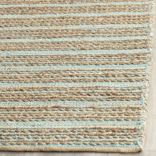 Safavieh Cape Cod Collection CAP851D Hand Woven Aqua Jute and Cotton Area Rug (2