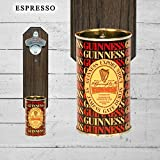 Wall Mounted Bottle Opener with Rare Vintage Guinness Beer Can Cap Catcher