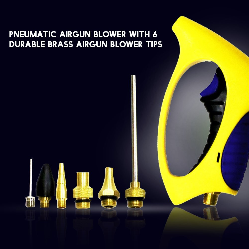 Air Blow Gun Compressed Air Tool Kit with 6 Air Gun Nozzle Tips and Adjustable Trigger for Air Flow Control, Pneumatic LE-FIG11 Compressed Air Tools by Lematec by LE LEMATEC (Image #5)