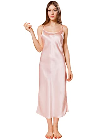 f48c745dcadff ElleSilk Women's Long Silk Nightdress, Silk Sleepwear, 22 Momme, Light  Pink, ...