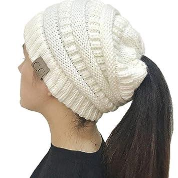 AEGKH CC Ponytail Beanie Sombreros de Invierno para Mujeres ...