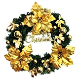 Flowers Christmas Wreath Garland Ornaments Arcades Hotel Christmas Decorations (gold)