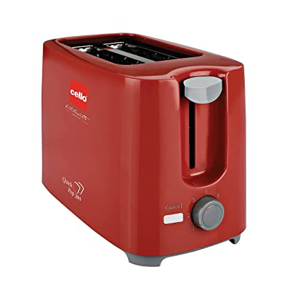 Cello Quick CLO_QUICKPOP_300_RED_2 Slice 700-Watt 2 Slice Pop-up Toaster (Red)