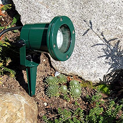 Exterior con estaca, IP68, verde, cable de 2,5 metros., foco para jardín, Spot, carcasa de aluminio, GU10: Amazon.es: Iluminación