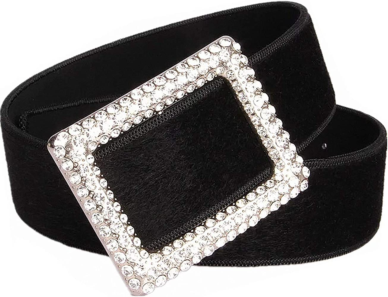 Bling Crystal Decor Pu Leather Waistband Rhinestone Belt with Square Buckle