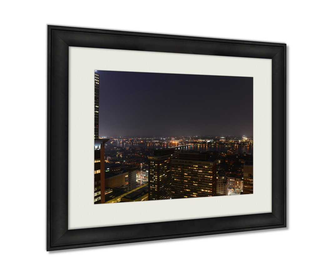 Ashley Framed Prints, Aerial View Of Mit Campus On Charles River Bank At Night Boston Massachusetts, Black, 16x20 Art, AG6334942