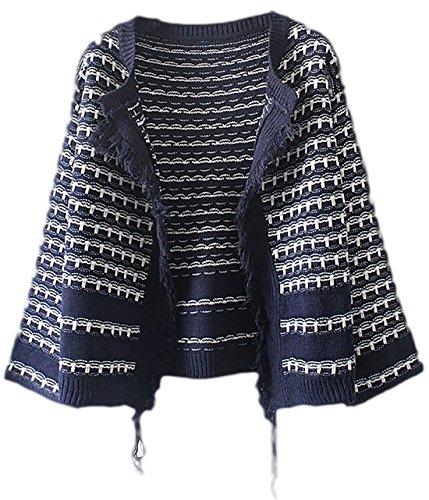 erdbeerloft - Damen Kastenförmige Übergangsjacke mit Fransendetail, Blau, One Size